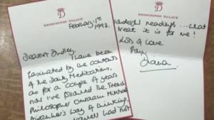 lettera in cui Diana menziona il suo interesse per Aivanhov